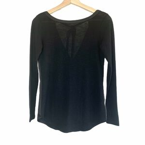 Dynamite Black Two Tone Tie Back Long Sleeve Top